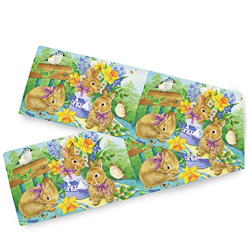 Easter Bunny Spring Birds Flowers Table Runner 13x70 Inches Double Sided Rabbit Butterfly Table Runners Cloth Washable Daisy Lily Lavender Floral Kitchen Dining Fabric Home Easter Day Decorations