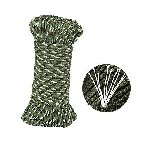 Tong Yue 31 metres 9 brins Corde de parachute Corde Parapluie extérieur Camping survie Corde, camouflage vert