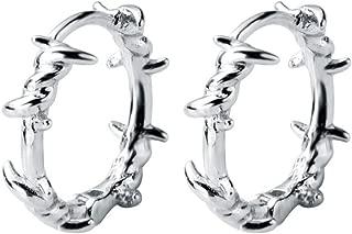 Pure 925 Sterling Silver Hoop Earring Barbed Wire Ear Cuff Clip On S925 Stud Earrings Gift for Women Girl Teen Jewelry