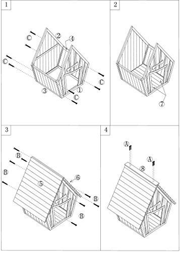 dobar 55012 Hundehütte ,XL Outdoor Hundehaus für große Hunde , Platz für ein Hundebett , Hundehöhle mit Spitzdach , 90x77x109 cm , 14kg Holzhütte , entfernbarer Boden | Farbe: braun/grau - 4