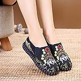RHH Shop Opera Bordado Mujeres Mocasines de Lona Señoras Comodidad Resbalón en Pisos Zapatos Bordados de algodón Suave (Color : Blue, Size : 36)