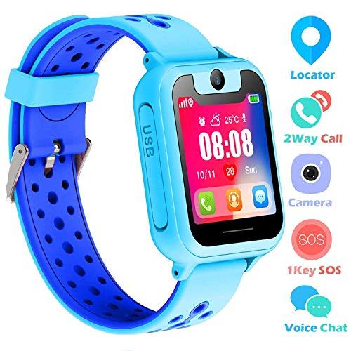Supoggy Kids Smart Watch Phone LBS Tracker Smart Watch para niños de 3 a 12 años Niños SOS Cámara Pantalla táctil Juego Actividad al Aire Libre Juguetes Regalo para niños para iOS/Android (Azul)
