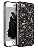 YINLAI iPhone SE 2020 Case, iPhone 8 Case iPhone 7 Case Glitter Sparkle Bling Girly Cover Thin Durable Hybrid Bumper Shockproof Anti-Slip Protective Phone Case for iPhone SE 2nd/7/8 Case, Black