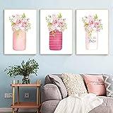 Acuarela floral tarro de albañil pintura en lienzo shabby chic decoración de la boda cartel nórdico flor de peonía rosa imprime imágenes (50x70cm) 3 piezas sin marco