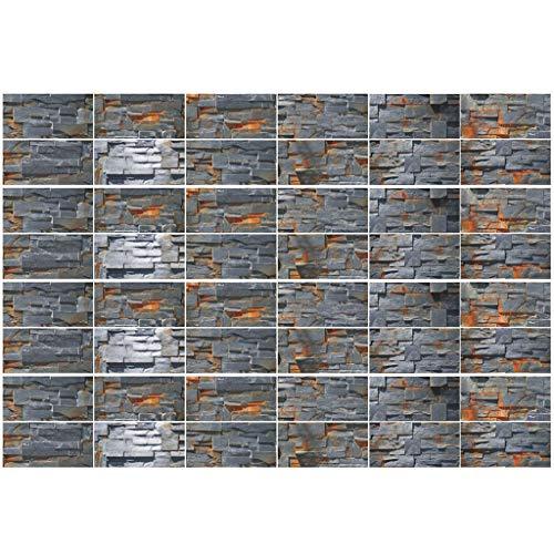 Wusuowei 48 Blatt 3D Selbstklebende Fliesenaufkleber,Wandsticker,Aufkleber Aufkleber Dekoration