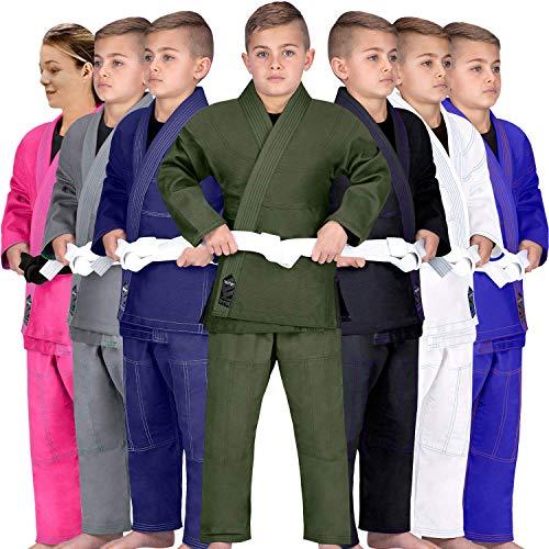 Elite Sports Kids BJJ GI, GIS for Youth Jiu Jitsu IBJJF Children's Lightweight Brazilian Jiujitsu Kimono W/Preshrunk Fabric & Free Belt (Green, C3)