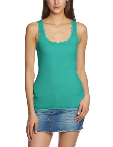 Esprit Spitze - Camiseta de sin Mangas con Cuello Redondo para Mujer, Color Scooter Green, Talla 42