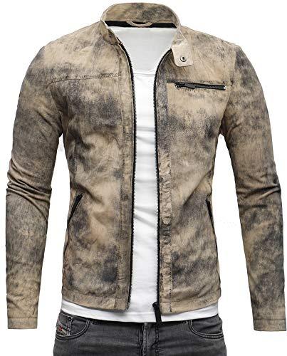 Crone Epic Herren Lederjacke Cleane Leichte Basic Jacke aus weichem Wildleder (L, Vintage Beige)
