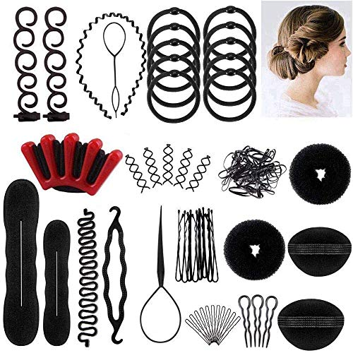 Winkeyes Hair Styling Set, Hair Design Styling Tools Accessories DIY Hair Accessories Hair Modelling Tool Kit Hairdresser Kit Set Magic Simple Fast Spiral Hair Braid Hair Braiding Tool, Set of 25