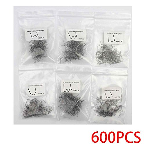 Fornateu 600PCS / Set 0,8 mm 0,6 mm de Acero Inoxidable Grapa...
