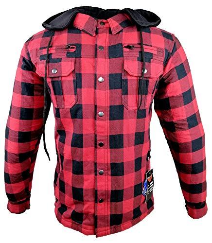 EURO STARS Biker Lumberjack Hemd Kev Aramid für Herren VOLL Innenfutter herausnehmbar mit Kapuze und Protektoren, Biker Flanell-Holzfällerhemd Reißfest, Winddicht, Wasserabweisend, Hemd (XL, Rot)