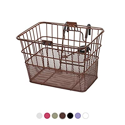 Retrospec Detachable Steel Half-Mesh Apollo Lift-Off Bike Basket with Handles, Brown