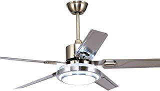 52-Inch Flush Mount Ceiling Fans with 5 Stainless Steel Blades Remote Control Fan Chandelier Dimmable LED Ceiling Fan Silver Brushed Finish
