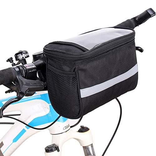 Bolsa Bicicleta Bolsas para Bicicletas Ciclismo Accesorios Accesorios de Bicicleta Bicicleta Bolso Soporte de teléfono de Bicicleta Impermeable Black,Free Size