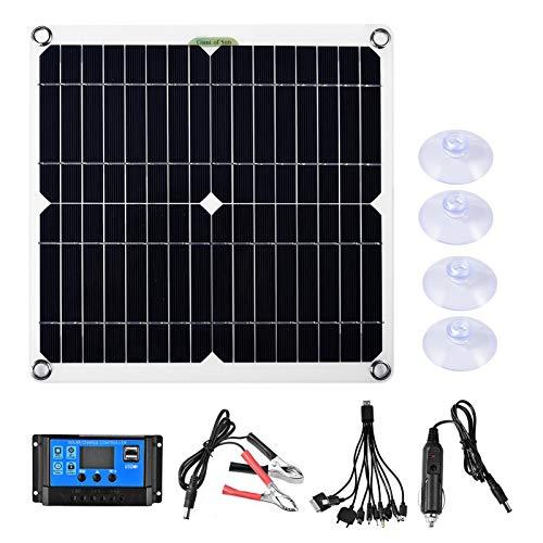 80W Solarpanel Set, Solar Panel kit Flexibles Polykristallines Solar-Kit Monokristallin Solarmodul USB Ausgang Solar Laderegler für Wohnmobil, Auto, RV, Boot, Wohnwagen
