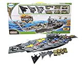 Toy Essentials 33 Inch Aircraft Carrier with Soldiers Jets Military Vehicles (18 Fighter Jets)