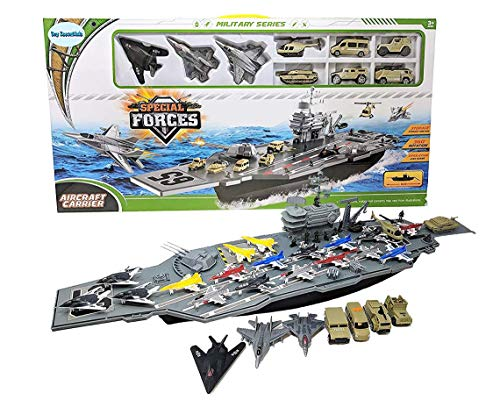 Toy Essentials 33 Inch Aircraft Carrier with Soldiers Jets Military Vehicles (18...