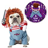 LTTDECO Halloween Costume for Pets, Dogs, Cats, Deadly Doll Chucky Costume, Cute, Scary and Spooky Custome for Pets