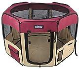 EliteField 2 portes Soft Pet Parc, stylo d'exercice, plusieurs tailles et couleurs disponibles pour chiens, chats et autres animaux domestiques (36 'x 36' x 24'H, marron + beige)
