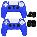 Aeroway 2 Packs Anti-Slip Shock-Proof Silicone Protective skin case cover for Sony PlayStation 5 PS5 Dualsense Controller with 8 Pro Joystick Thumb Grip Caps--Blue