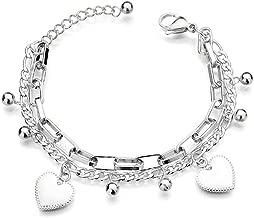 WikiMiu Women Bracelets Link for Women, Multi Layered Charm Bangle Bracelet Adjustable,Heart Beads Hand Band for Giftbox