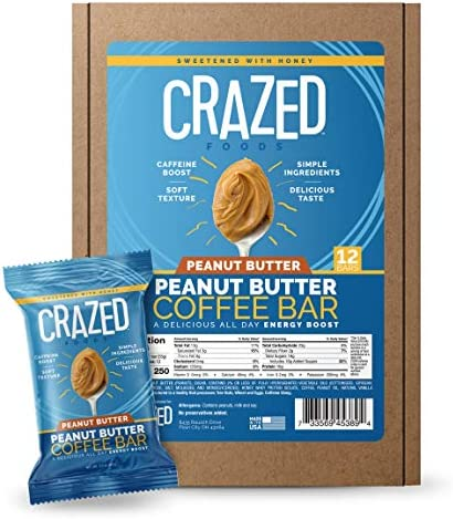 Crazed Foods Peanut Butter Coffee Energy Bar Simple Ingredients Caffeine Boost Soft Texture product image