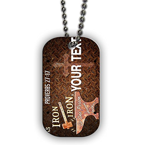 BleuReign(TM) Personalized Bible Series Best Friends Verse Proverbs 27-17 License Plate Single Sided Metal Military ID Dog Tag with Beaded Chain