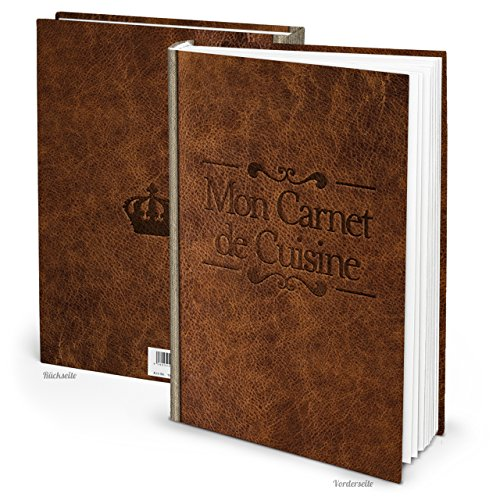 XXL receptenboek om zelf te schrijven, MON CARNET de CUISINE LEER- NOSTALGIE-LOOK titel, Fransisch 164 pagina's + register Mijn recepten - eigen kookboek