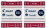 Pilot Namiki IC100 Cartucho de tinta para pluma estilográfica, azul/negro, 12 cartuchos por paquete (paquete de 2)