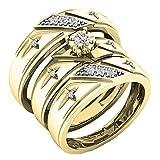 Dazzlingrock Collection 0.19 Carat (ctw) Round White Diamond Men & Women's Engagement Ring Trio Bridal Set, 10K Yellow Gold