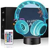 Lampada a illusione 3D, luce notturna 3D per ragazzi e ragazze, lampada da tavolo da tavolo in 7 colori che cambiano la decorazione della casa in acrilico a LED con telecomando (cuffie)