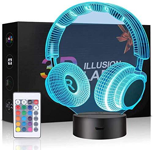 3D Kopfhörer Illusionslampe, 3D-Nachtlicht für Jungen und Mädchen, Tischlampe, 7 Farbwechsel, Heimdekoration, Acryl-LED-Kunstskulptur-Lichter mit Fernbedienung