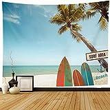 N\A Wandteppich Wandbehang Pazifik Blau Surfbrett Vintage Surfbrett Palme Auf Welle Feiertage Strand Grün Retro Sommer Surfer Wohnkultur Wandteppiche Dekorative Schlafzimmer Wohnzimmer Wohnheim