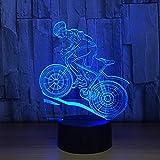 Vélo De Montagne Rider 3D Night Light 7 Couleurs Changeantes Led Lampe De Table De Bureau 3D Illusion Sports...