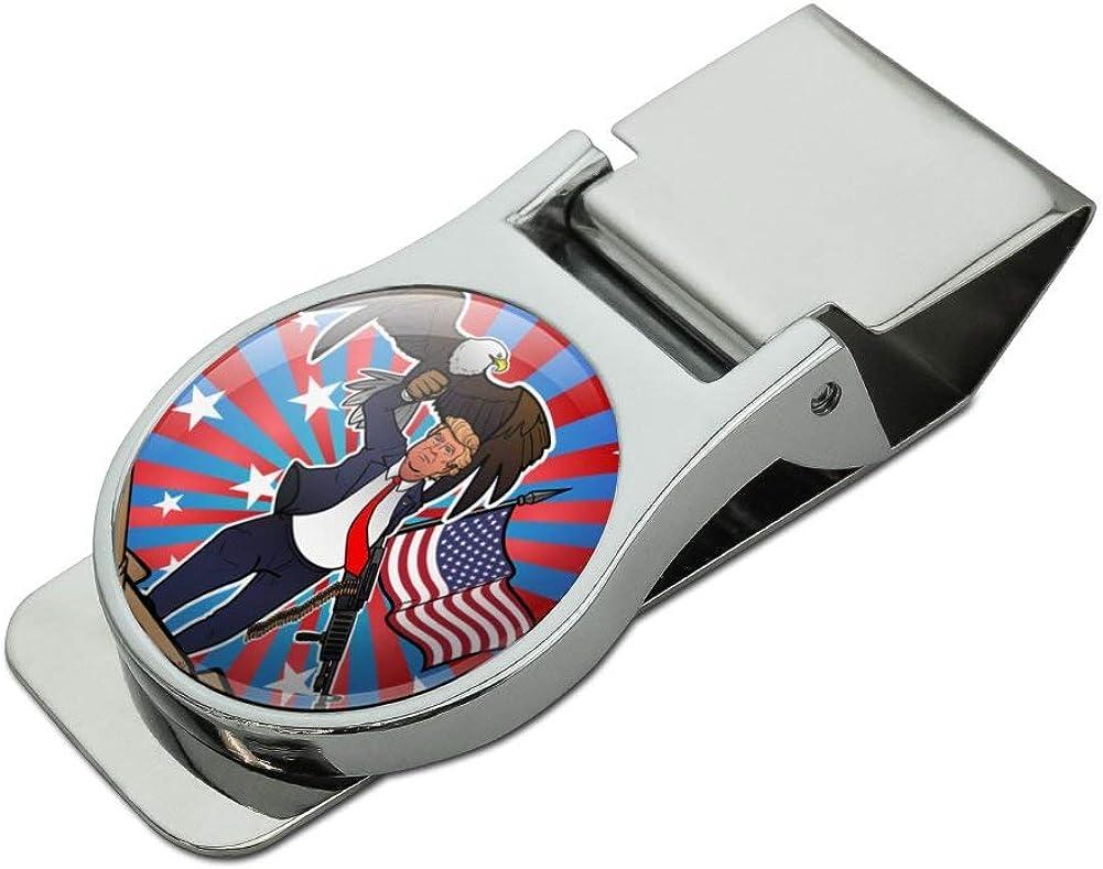 Patriotic Donald Trump with Eagle American Flag Gun Satin Chrome Plated Metal Money Clip