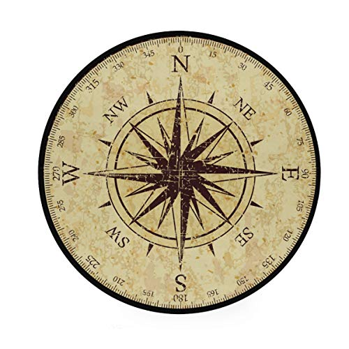 ALAZA Vintage Grunge Compass Non-Slip Round Area Rug for Bedroom Living Room Study Playing Floor Mat Carpet, 3' Diameter