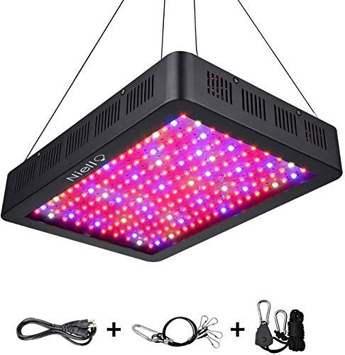 Niello Doppelschalter Serie 1500W LED Pflanzenlampe Vollspektrum LED Grow Light Wachsen Lampe für Zimmerpflanzen mit Einstellbarem Seil Thermometer-1500W(150pcs 10W LED)