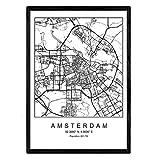 Nacnic Druck Stadtplan Amsterdam skandinavischer Stil in