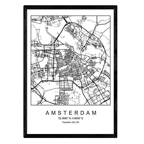 Lámina mapa de la ciudad Amsterdam estilo nordico en blanco y negro. Poster tamaño A3 Enmarcado con marco negro Impreso papel 250 gr. Cuadros, láminas y posters para salon y dormitorio