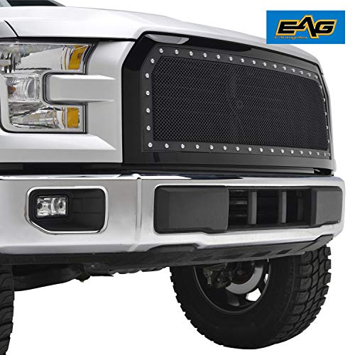 EAG Rivet Mesh Grille Stainless Steel Wire Replacement with Shell Fit for 2015-2017 Ford F-150