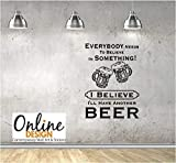 Online Design Pared Cita Vinilo Arte Pegatina Believe IN Cerveza Pub, Restaurante, Bar - Blanco