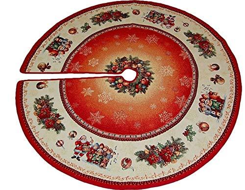 Baumdecke 130 cm rund Gobelin WEIHNACHTEN Nostalgie Motive rot bunt Christbaumdecke Weihnachtsbaumdecke (130 cm)