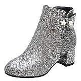 LUXMAX Donna Glitter Scarpe Tacco Grosso Medio Stivali con Cerniera Eleganti Stivaletti alla Caviglia (Argento) - 39 EU