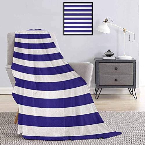Toopeek - Manta de franela a rayas (60 x 70 cm), diseño de marinero, color azul marino