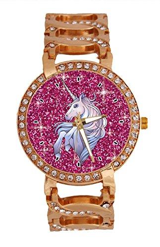 jkfgweeryhrt - Reloj de Pulsera para Mujer, diseño de Unicornio, Cuarzo analógico con Cadena y Correa de Acero Inoxidable, Color Oro Rosa