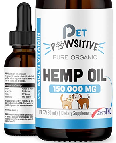 Pet Pawsitive Hemp Oil for Dogs and Cats – 100% Organic Extract – Calming Drops for Dogs – Pet Relief Rich Multivitamins…