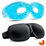 Gel Beads Eye Mask + 3D Sleep Mask, Cooling Eye Mask Reduce Puffy Dark Circles Migraines Headaches Stress Relief, 3D Contoured Cup Blindfold Eye Mask Ultra Lightweight & Comfortable Sleeping Mask
