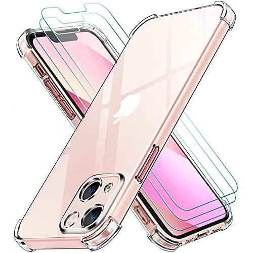 ivoler Funda Compatible con iPhone 13 Mini con Protección de La Cámara y 3 Piezas Cristal Templado, Carcasa Protectora Anti-Choque Transparente, Suave TPU Silicona Caso Delgada Anti-arañazos Case