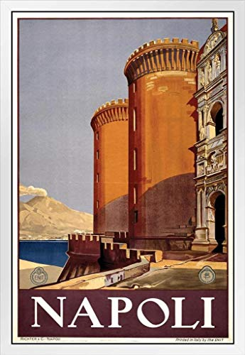 Napoli Naples Italy Vintage Travel White Wood Framed Poster 14x20