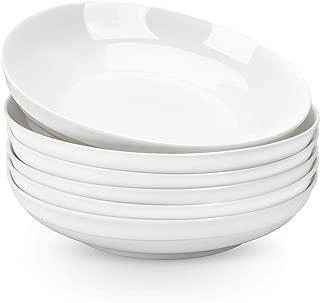 AnBnCn Porcelain Pasta/Salad Bowls - 27 Ounce - Set of 6, Large Serving Bowl Set, White